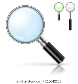 3D Realistic Magnifying Glass (Loupe) with Options Color and Size. Isolated vector illustration