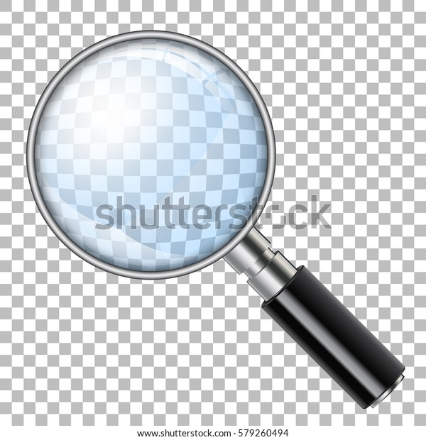 3D Realistic Magnifying Glass (Loupe) on transparent background. Isolated vector illustration.