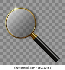 3D Realistic Magnifying Glass on transparent background. isolated vector illustration