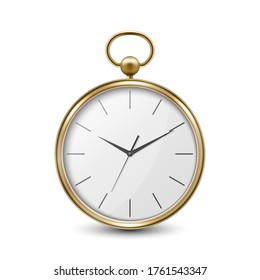 3d Realistic Metal Golden Old Vintage Pocket Watch Icon Closeup Isolated on Transparent Background. Antique Clock Face, Design Template, Stock Vector Illustration