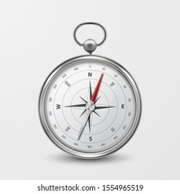 3d Realistic Metal Silver Antique Old Vintage Compass with Windrose Icon Closeup Isolated on White Background. Design Template. Travel, Navigation Concept. Front View. Stock Vector Illustration