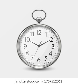 3d Realistic Metal Silver Old Vintage Pocket Watch Icon Closeup Isolated on White Background. Antique Clock Face, Design Template, Stock Vector Illustration