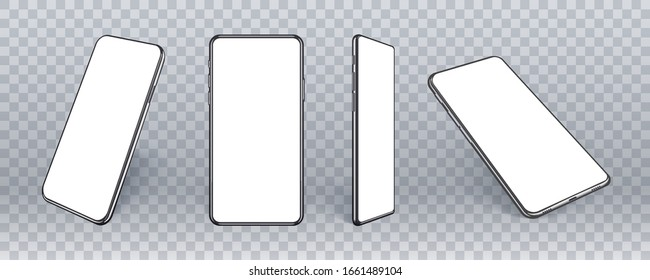 3d realistic mobile phone mockup from different angles. Smart device collection with thin frame and blank screen isolated on transparent. Vector template for present site, app or ux design.