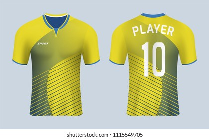 0593cc719 3D realistic mock up of front and back of yellow soccer jersey shirt.  Concept for