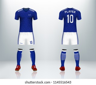 3D realistic mock up of front and back of blue soccer jersey t-shirt with pants and socks. Concept for football team uniform or apparel mockup template in design vector illustration