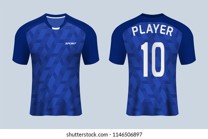 3D realistic mock up of front and back of  blue soccer jersey t-shirt kit. Concept for football team uniform or apparel mockup in vector illustration.