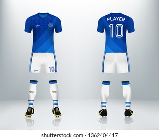 7b307f8af 3D realistic mock up of front and back of blue soccer jersey t-shirt with