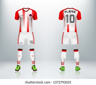 3D realistic mock up of front and back of red stripe soccer jersey t-shirt with pants and socks. Concept for football team uniform or apparel mockup template in design vector illustration