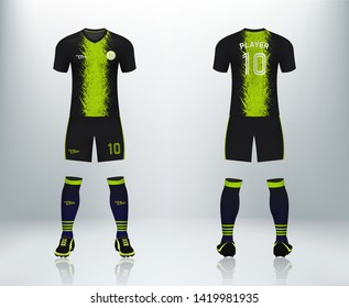 3D realistic mock up of front and back of black and green soccer jersey t-shirt kit. Concept for football team uniform or apparel mockup in vector illustration