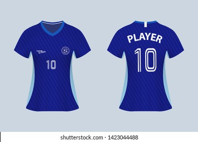 3D realistic mock up of front and back of blue female soccer jersey t-shirt with pants and socks. Concept for football team uniform or apparel mockup template in design vector illustration