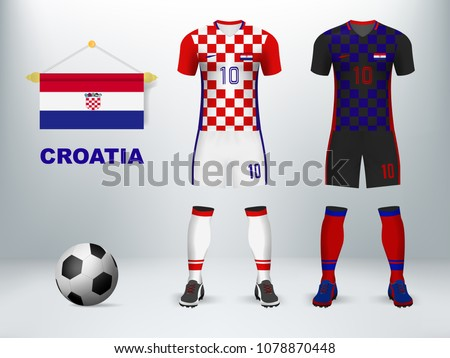 3D realistic mock up of home and away Croatia soccer jersey uniform.  Concept for nation t shirt or football apparel template design in vector  illustration - ... afb789737