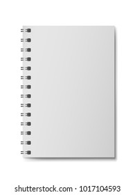 3D realistic model notebook without hard cover. Vertical organizer with clean page. Template of notepad or diary isolated on white background. Mockup of empty book with silver spiral