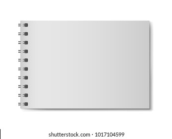 3D realistic model notebook without hard cover. Horizontal organizer with clean page. Template of notepad or diary isolated on white background. Mockup of empty book with silver spiral
