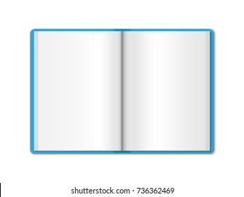 3D realistic model opened blue notebook. Vertical organizer with clean white pages. Template of notepad or diary isolated on white background. Color Mock up of empty book or blank copybook