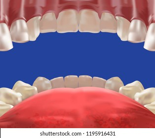 3d Realistic mouth cavity, view from inside, perspective design, vector illustration