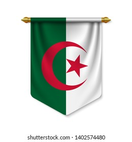 3d realistic pennant with flag of Algeria. Vector illustration