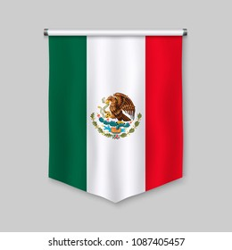 3d realistic pennant with flag of Mexico