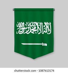 3d realistic pennant with flag of Saudi Arabia