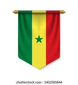 3d realistic pennant with flag of Senegal. Vector illustration
