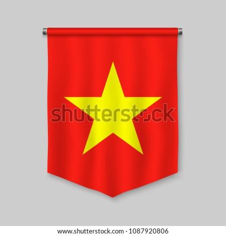 3 D Realistic Pennant Flag Vietnam Vector de stock (libre de