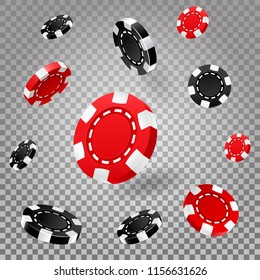 3d realistic playing chips for casino or flying gambling coins on transparent for las vegas club. Online or internet casino advertising for poker or roulette gaming. Winning and gamble, fortune theme