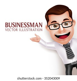 3D Realistic Professional Business Man Character  Waving Hand for Presentation on Empty White Background. Vector Illustration
