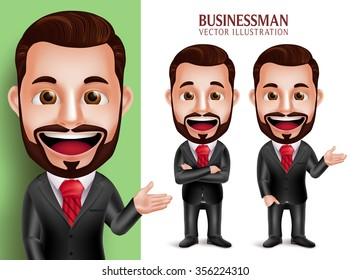 3D Realistic Professional Business Man Vector Character Smiling in Attractive Corporate Attire for Presentation Isolated in White Background. Set of Vector Illustration