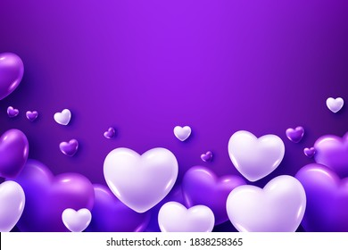 3D Realistic purple Heart Balloons Flying