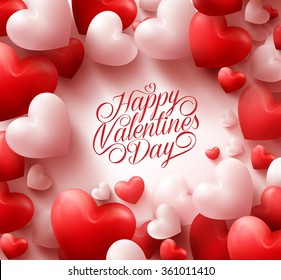 3D Realistic Red Hearts Background With Sweet Happy Valentines Day Greetings In The Middle Vector
