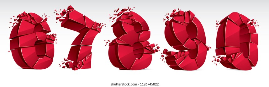 3D realistic red numbers set 6 7 8 9 0 vector illustration, breaking to pieces digits over white symbols collection.