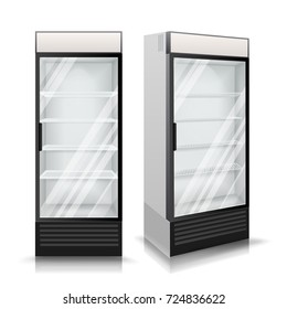 3D Realistic Refrigerator Vector. Glass Door Fridge Isolated Illustration