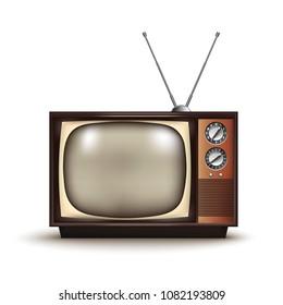 3d Realistic Retro TV. Vintage.Vector illustration