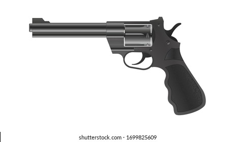 3d realistic revolver gun. Modern gun, handgun on isolated background. Black metal pistol, revolver. Vector illustration