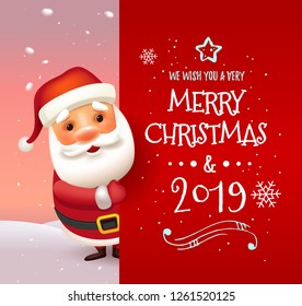 3D Realistic Santa Claus Cartoon Character Showing Merry Christmas Tittle Written in Red Letter Paper Space. Vector Illustration Holiday message with Santa Clous. Vector illustration. EPS 10