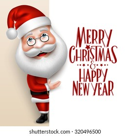 3D Realistic Santa Claus Cartoon Character Showing  Merry Christmas Tittle Written  in Blank Space. Vector Illustration
