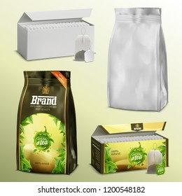 3D realistic set blank white paper tea bags and loose leaves packs boxes and examples with ready design