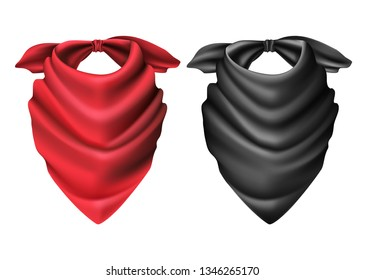 3d realistic set of vector cowboy red and black scarf.