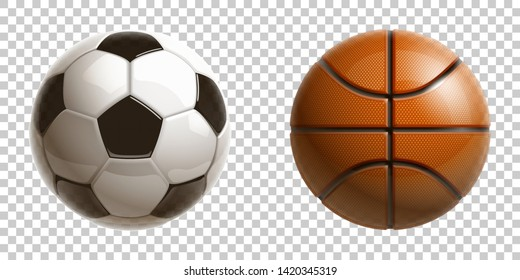 3d realistic shiny basketball and football soccer championship Design banner. Illustration banner with logo classic Realistic basketball and football soccer balls Isolated on transparent background