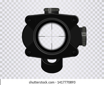 3D Realistic sniper sight. Sniper scope, GUI element template ( aim, zoom, crosshairs )  Vector optical sight  with scratches and realistic elements. 3D model for gamedev project