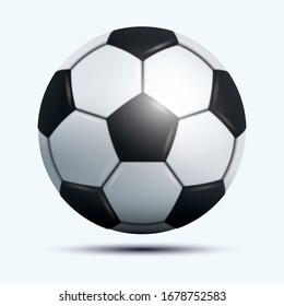 3D realistic soccer ball or foot ball floated off the ground  on white background.