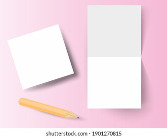 3d realistic square fold brochure or invitation mockup and pencil. Mockup. Place for your text or design. Vector.