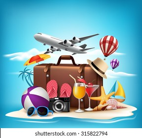 3D Realistic Summer Vacation Design for Travel in a Sand Beach Island in Horizon with Summer Items. Vector Illustration