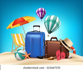 3D Realistic Summer Vacation Poster Design with Bags in Beach Sea Shore. Vector Illustration