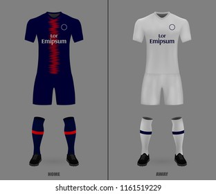 3D realistic template soccer jersey of PSG. t-shirt with pants and socks on shop backdrop. Mockup of football team uniform