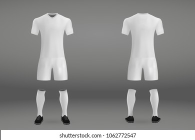 3D realistic template white soccer jersey t-shirt with pants and socks on shop backdrop. Mockup of football team uniform