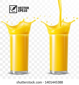3d realistic transparent vector glasses with a splash of orange juice