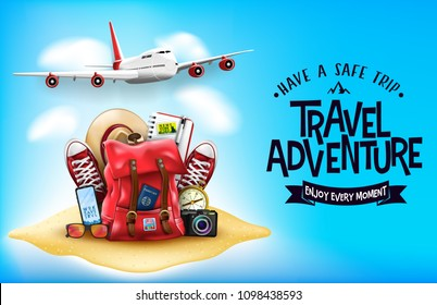 3D Realistic Travel Items Like Airplane, Backpack, Sneakers, Mobile Phone, Passport and Sunglasses in the Sand with Have A Safe Trip Travel Adventure Message Text in Blue Background Banner Design.