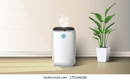 3d realistic vector air purifier in the interior on the wooden floor  background illustration with house plant on the floor. Air cleaning and humidifying  devise for the house.