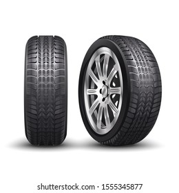 3d realistic vector aluminum racing car tire or auto tyres in front and side view.