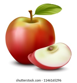 3D realistic vector apple and sliced apple with seed.